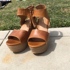 Brown leather platform wedges
